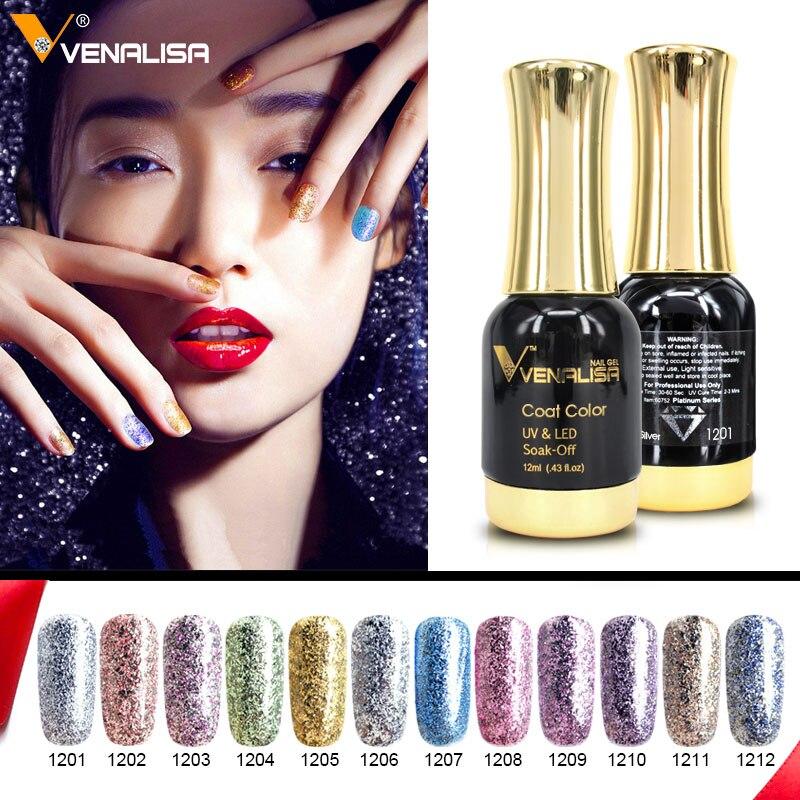 12 шт. * 12 мл Venalisa Платиновый гель лак для ногтей Гель-лак для ногтей Soak off UV светодио дный LED гель лак Звездный цвет Bling лаковое гелевое покрытие...