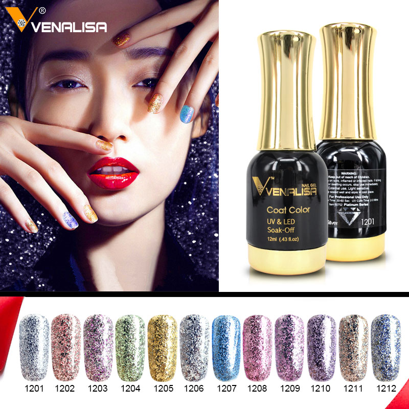 цены 12pcs*12ml Venalisa Platinum Gel Nail Polish Nail Art Gel Polish Soak off UV LED Gel Varnish Starry Color Bling Nail Gel Lacquer