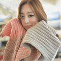 New Autumn And Winter Knitted Jacquard Weave Woolen Wool Double Scarf For Female Women Warm Contrast Color Wrap Muffler