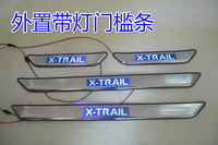 stainless steel LED Scuff Plate/Door Sill The threshold bar For Nissan X Trail X Trail T31 2008 2013 4PCS/SET
