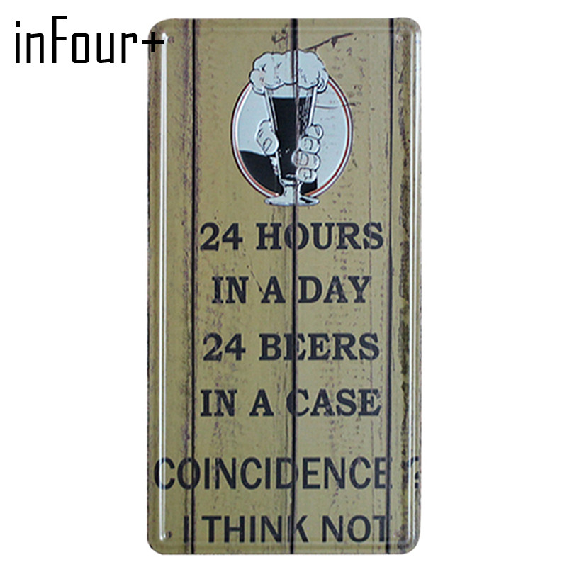 [inFour+] 24 Hours Beer Plate Metal Plate Car Number Tin Sign Bar Pub Cafe Home Decor Metal Sign Garage Painting Plaques Sign