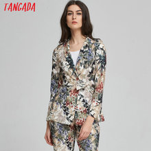 Tangada Suit Jacket Blazer For Women Work Office Suit Floral Print Ladies Jacket With Belt Coat Female Brand Blazer Femme Summer