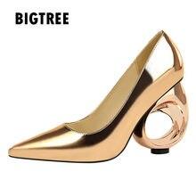 09809f74b Novos 2018 Mulheres bombas de couro espelho Moda estilo estranho saltos  altos Das Senhoras sapatos de