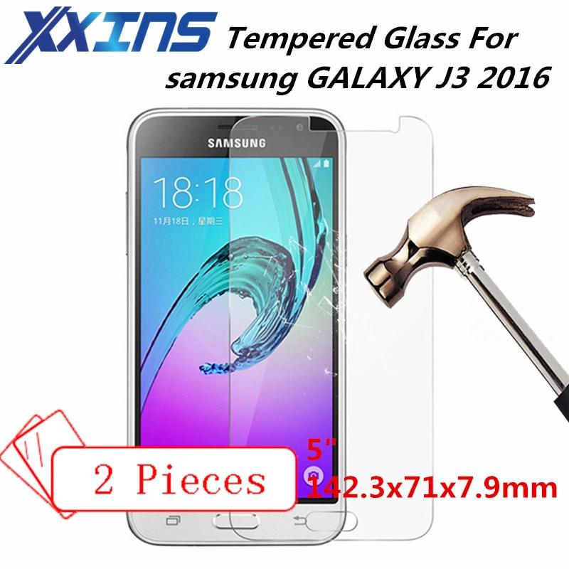 2 PCS de Vidro Temperado Para samsung GALAXY 2016 J3 J3 J300 J310 J320 tampa dom gratuito Protetor de Tela do telefone 5 polegada 5 polegada