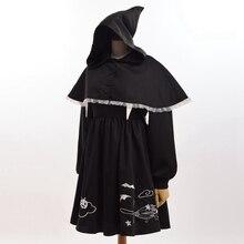 Meninas lolita gótico bordado dress com bruxa preto mini capa do dia das bruxas partido cosplay