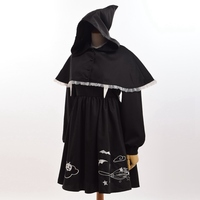 Lolita Girls Gothic Embroidery Dress with Witch Black Mini Cape Halloween Party Cosplay