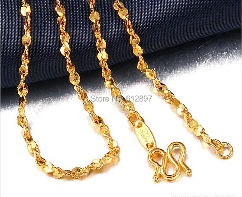 999 24K Yellow Gold Necklace Chain Women's Chain 16inch Length