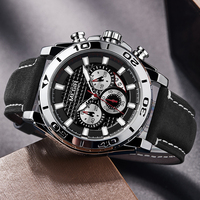 New MEGIR Men's Watch Army Sports Chronograph Analog Quartz Watches Leather Strap Waterproof Wristwatch Men Relogios Clock 2019