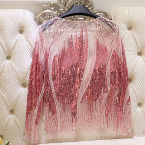 Runway Style Women Luxurious Beading Sequins Golden Pink Embroidery Sheer Long Sleeve Geometric Party Blouses Shirts NS702