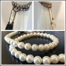 1 пара, модная простая повязка на занавеску, жемчужный шар, подвесная цепочка, украшение с кисточками, ремешок для подвешивания, завязанная веревка, лента для галстука, M404