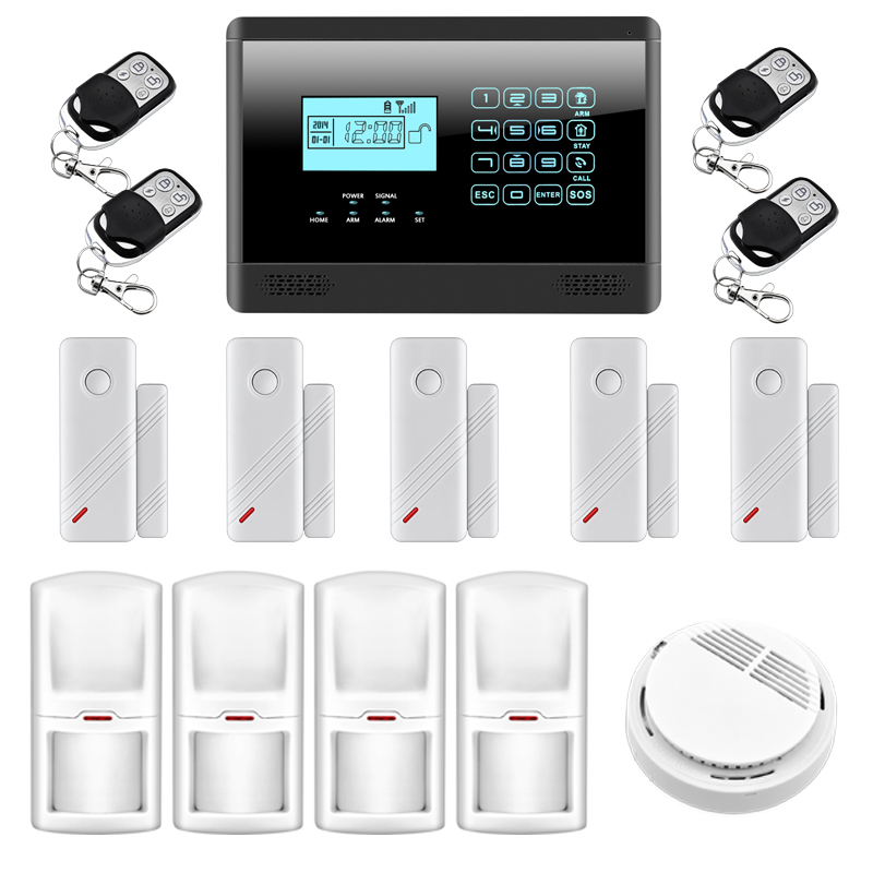 wireless gsm sms home security alarm system fire smoke alarm alert 850 900 1800 1900mhz 99. Black Bedroom Furniture Sets. Home Design Ideas