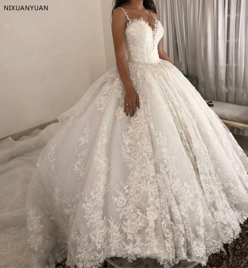 Luxury Ball Gown Wedding Dresses Spaghetti Straps Lace Applique Wedding Gowns Sweep Train 2019 Bridal Dresse Vestido De Novia
