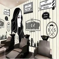European and American retro wood barber shop beauty shop large mural 3D wallpaper bedroom living room TV stereo 3D wallpaper