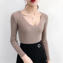 Casual V Neck Sweater Women Long Sleeve Korean Fashion Solid Color Vintage Womens Sweaters S-XL White Sexy New Autumn Top Femme