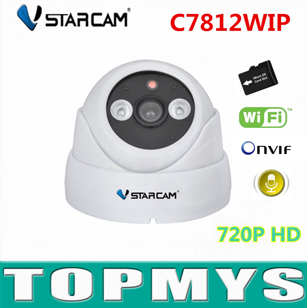 VStarcam IP Camera C7812WIP 720p Dome cam mini wifi IP Camera ONVIF IR cut 10m Plug&Play wireless indoor security CCTV cameras vstarcam c7824wip free shipping onvif 2 0 720p ip camera wireless wifi cctv ip camera with eye4 app indoor pan