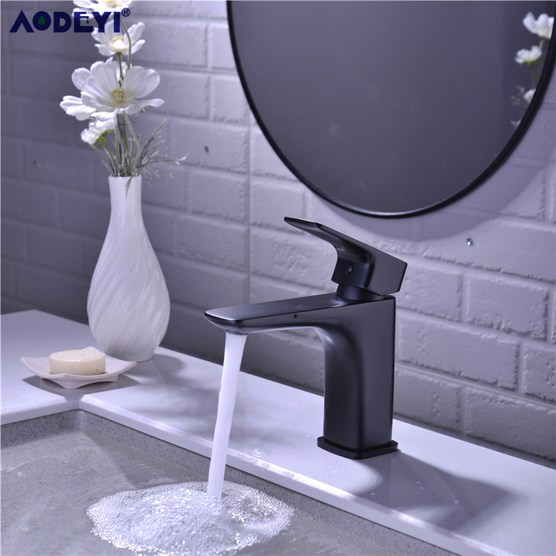 Bathroom Faucet Black Solid Brass Bathroom Solid Basin Faucet Cold and Hot Water Mixer Single Handle