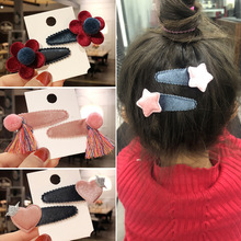 NEW 2pcs/lot Cartoon Kids Hairclips Lovely Princess Hairpins Girls Love Heart Flowers Stars Barrettes Cloth BB Hair Accessories