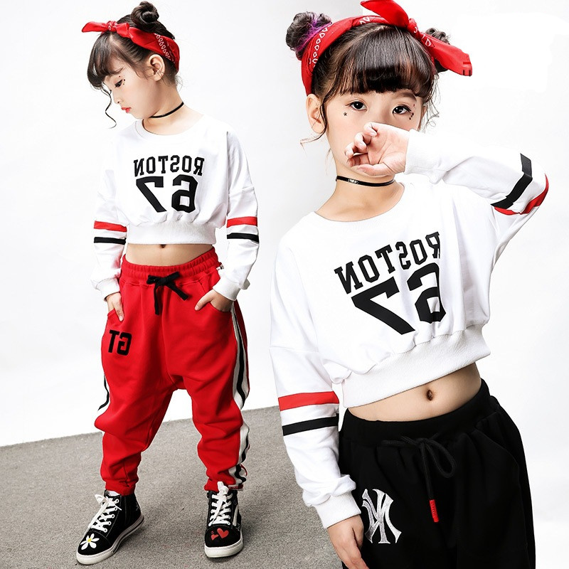 51425750986f New Fashion Midriff-baring Pop Jazz Hiphop Suit Hip Hop Dancing Clothes  Dance Costumes for Children Kids Boys Girls Women Men