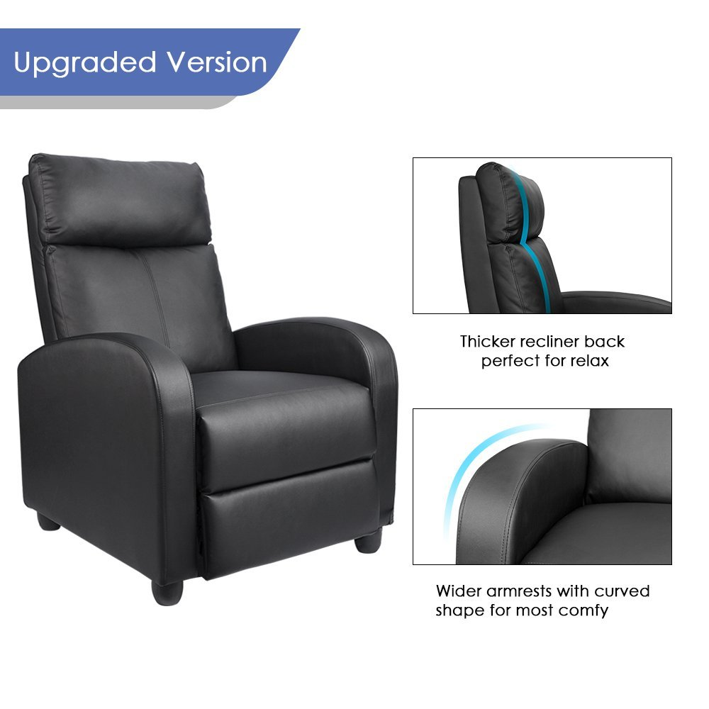 Homall single sofa recliner chair padded seat black pu leather living room recliner modern sofa seatblack in living room sofas from furniture on