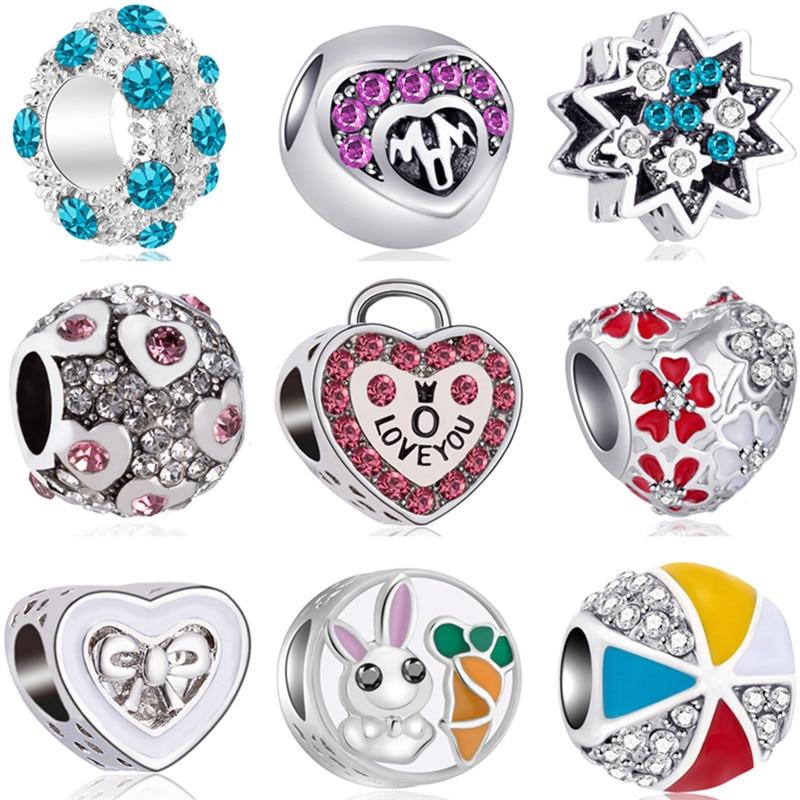 DIY Beads Bracelets Charms Lock-Flowers Cat-Stars Bowknot Big Crystal Murano Original Pandora