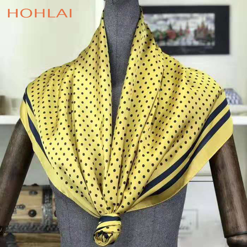 2019 New Arrival / Fashion Women Large Soft Satin Scarf / Dots Printed Square Silk Scarves 90*90cm / Gifts Many Uses Wholesale