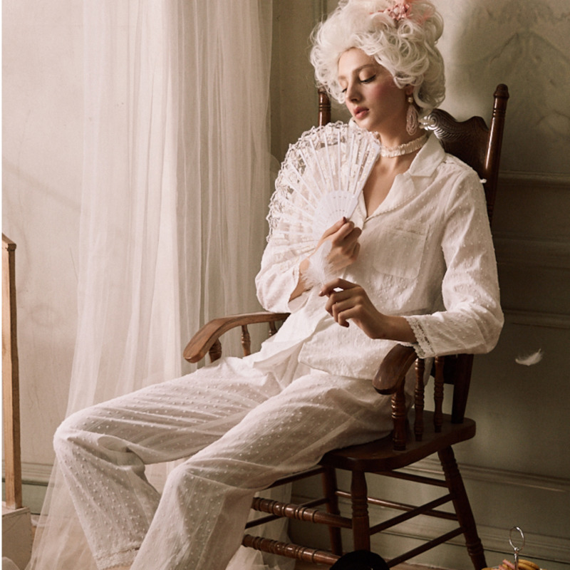 Autumn Pajamas Woman Cotton Long Sleeve Pijama  Elegant Casual Pyjamas Women  INS Fashion Sleepwear Two Piece
