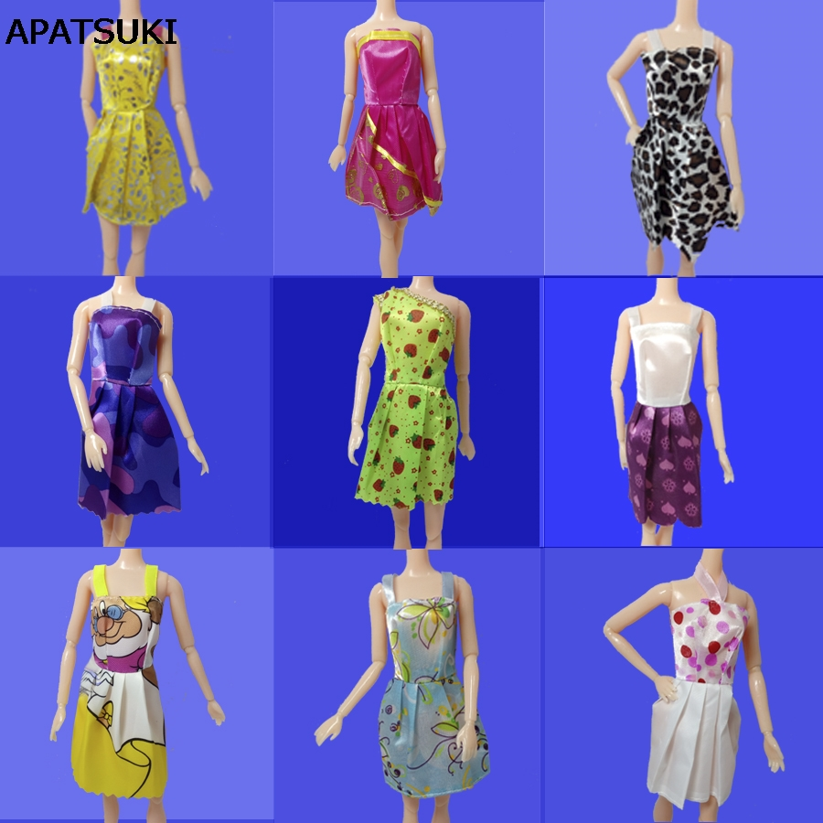 5pcs/lot 2016 New Handmade One Piece Dress Fashion Clothing Gown For Barbie Doll Kid's Playhouse Best Gift