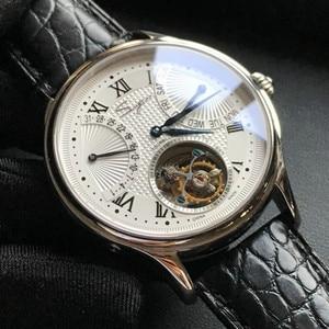 Image 3 - יוקרה ST8004 Tourbillon שעון גברים תנין עור לוח שנה תצוגת שבוע Mens יד Winding מכאני שעונים 5ATM עמיד למים