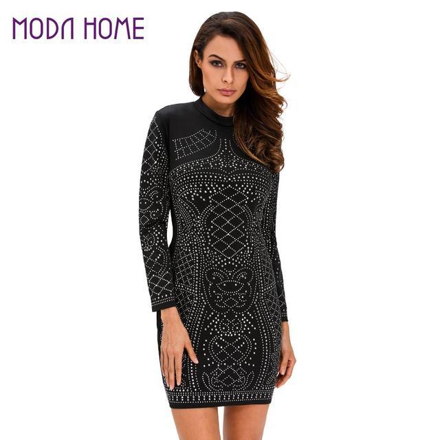2019 Women Autumn Dress Rhinestone Studded Sparkling Black Dress Long  Sleeve Zipper Bodycon Mini Dress Party Clubwear Vestido