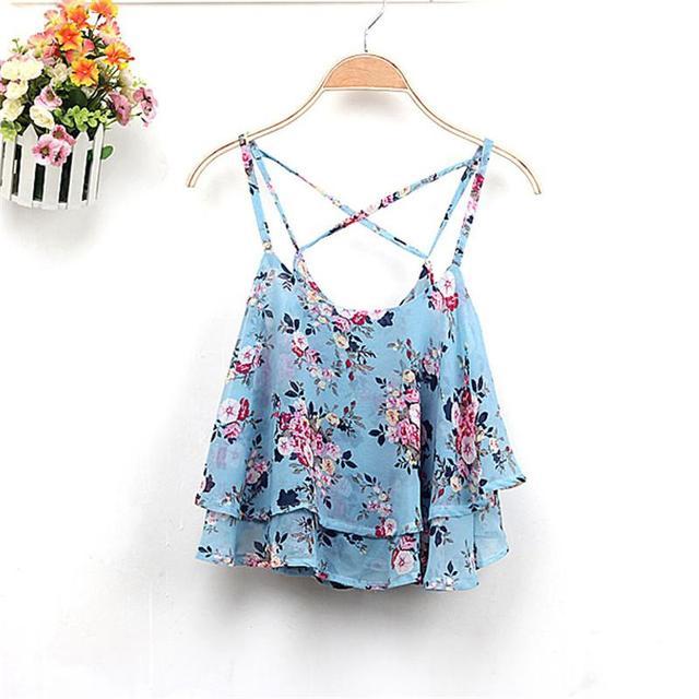 f5cdf29616c4 4 Colors 2017 Women Summer Clothing Spaghetti Strap Floral Print Chiffon  Shirt Vest Blouses Crop Top