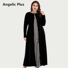Plus Size Long Dress Elegant Striped Loose Fit