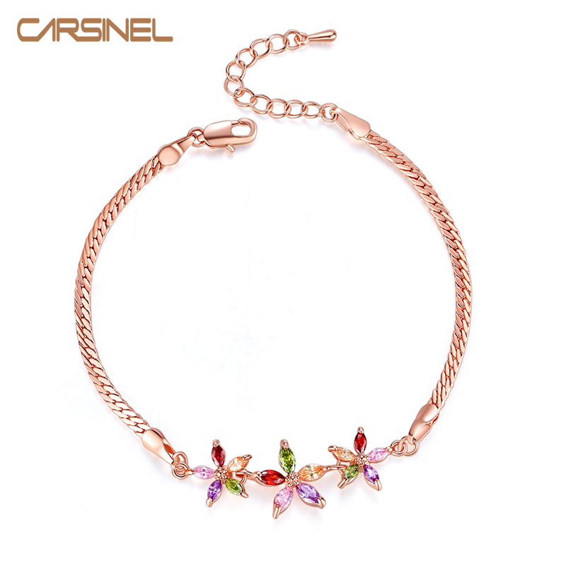 CARSINEL Fashion Flowers Colorful Cubic Zirconia Charm Bracelets & Bangles for Women Rose gold color Jewelry