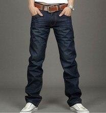 Новая Мода Мужчины Повседневная толстые Джинсы Тонкий Прямой Высокая Эластичность Ноги Джинсы Свободная Талия Длинные Брюки Длинные Джинсы для мужчин