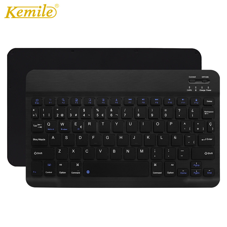 Ultra Slim Aluminum Wireless Bluetooth Spanish Keyboard For IOS Android Tablet PC Windows For IPad Bluetooth Spanish Teclado