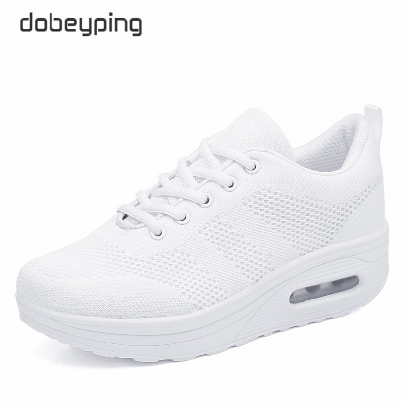 Image 4 - 2018 New Spring Summer Casual Shoes Woman Breathable Mesh Women Loafers Platform Womans Sneakers Lace Up Ladies Flats Shoeladies flats shoesflats shoesloafer platform -