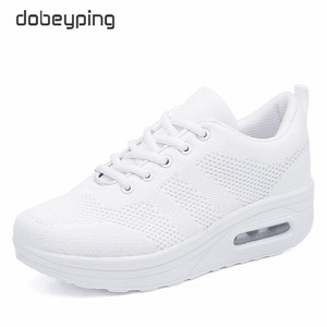 Image 4 - 2020 New Spring Summer Casual Shoes Woman Breathable Mesh Women Loafers Platform Womans Sneakers Lace Up Ladies Flats Shoe