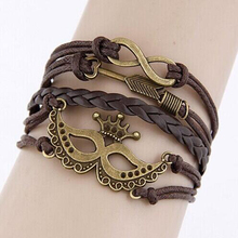 Wholesale Or Retail Fashion women bracelets jewelry Leather multi bracelet mask shape weave bracelets for woman for gifts