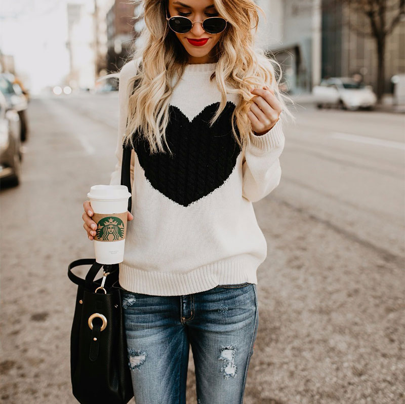 18 new winter white knitted sweater Women lantern sleeve loose gray pullover female Soft warm autumn casual love heart jumper 3