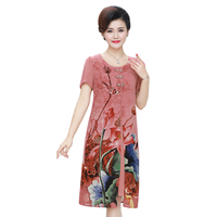 Summer Autumn New Chinese Style Retro Dress Temperament Long Flower fake Two Pieces Faux Silk Woman Dresses