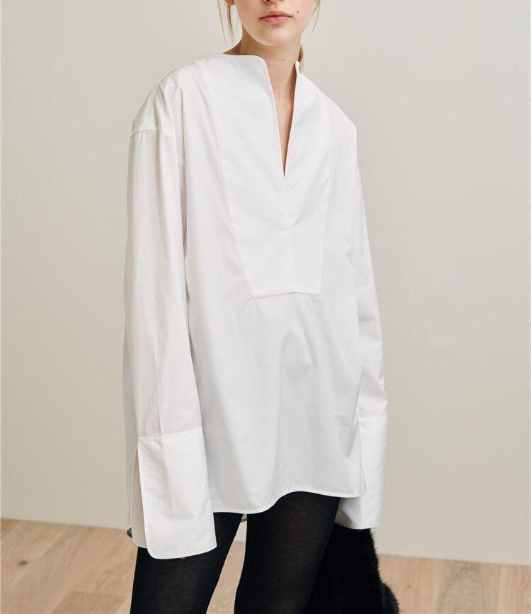 Millay smoking bluse Weiß übergroßen TOP V ausschnitt cut dropped schultern langen ärmeln offenen manschetten FRAU NEUE-in Blusen & Hemden aus Damenbekleidung bei  Gruppe 1