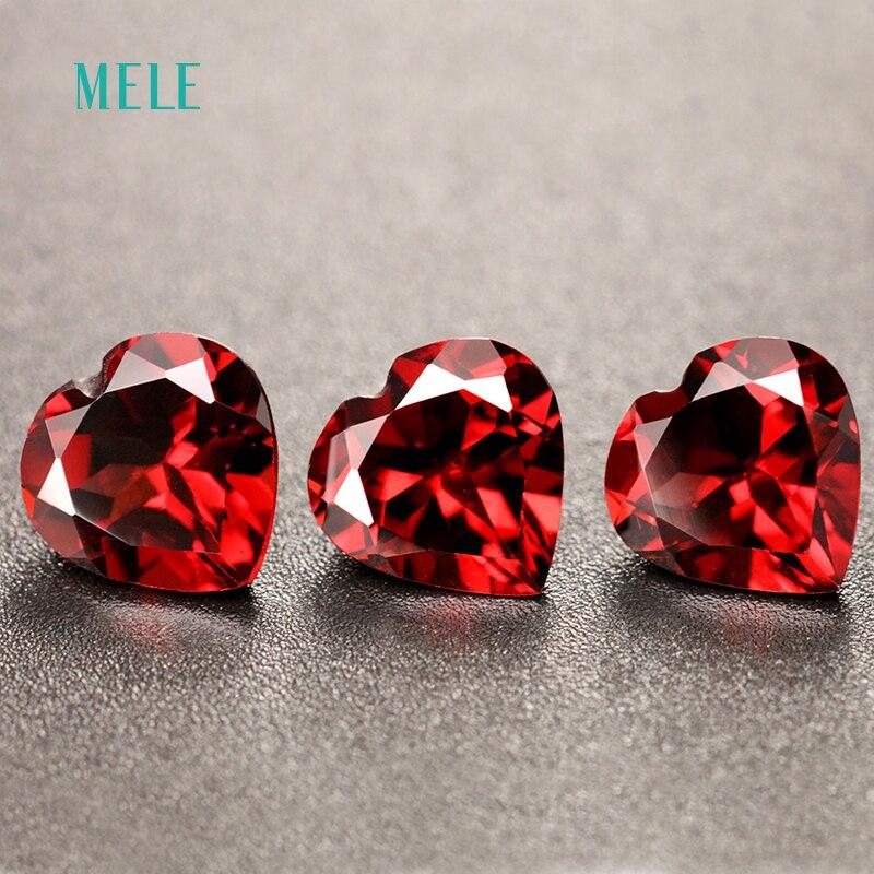 Natural red garnet in heart shape 8mm*8mm, lovely  shape design, best gift for family members