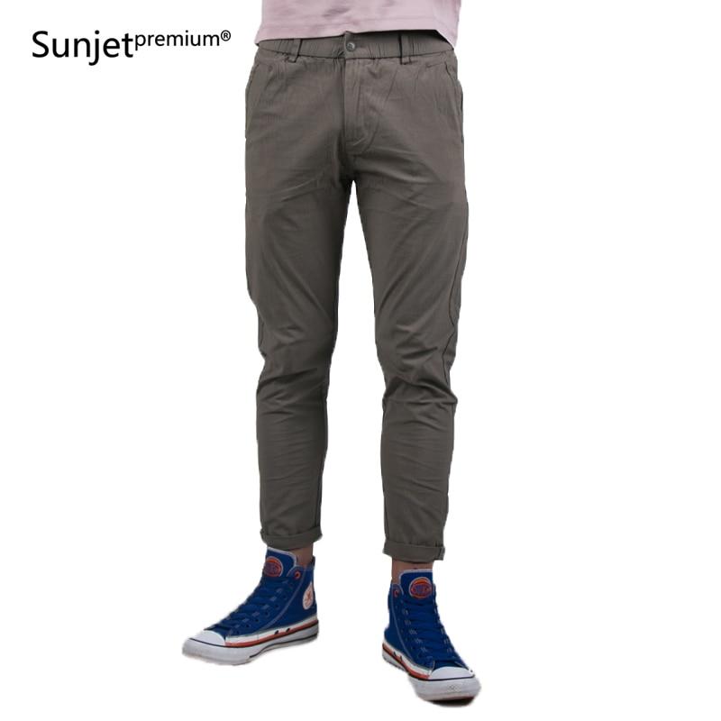New 2018 Summer Autumn Men Casual Pants mens feet Solid Khaki Students Pencil Ankle Length Pants 30-38