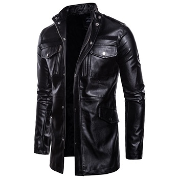 2019 Autumn New Black Casual Long Leather Stand Collar Loose Four-Pocket Locomotive Leather Zipper Coat Jacket