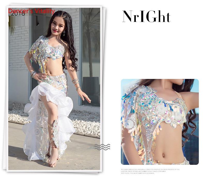 Girls Belly Dance Stage Show Performance Costume Dress Set (Bra Long Skirt) New Piece Of High-Grade Real Silk Dress