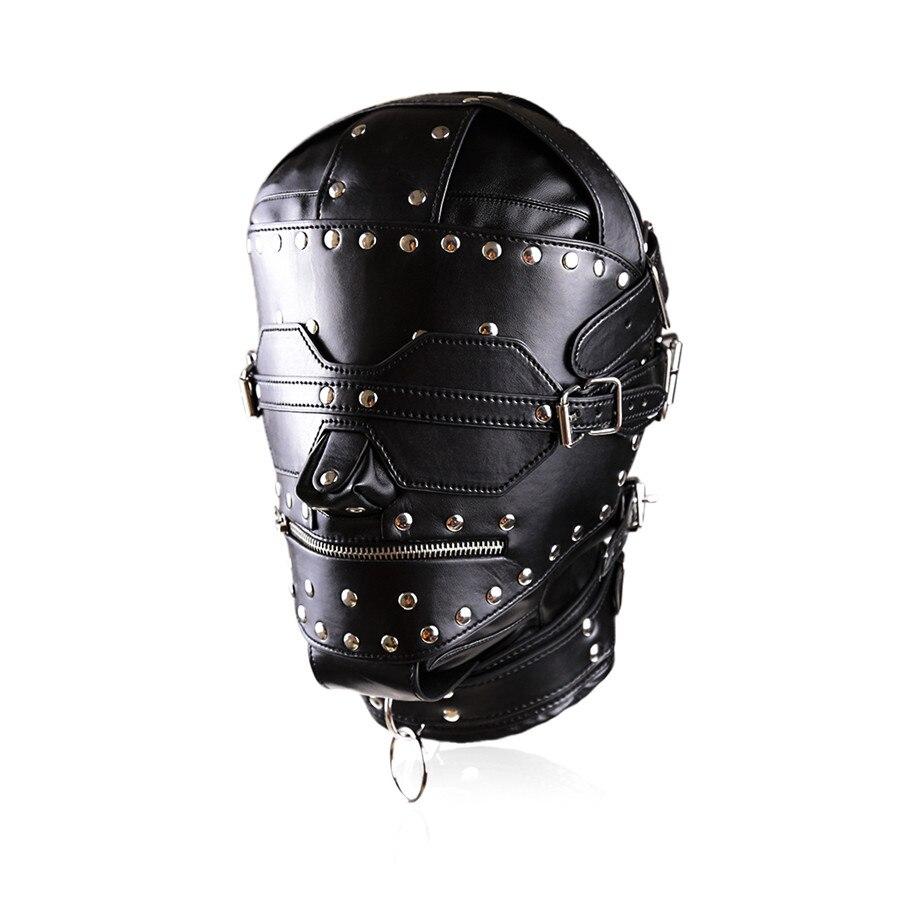 Haute qualité PU cuir plein Gimp masque à capuche verrouillage bandeau fermeture à glissière bouche ouverte têtes de retenue esclave BDSM Bondage jouets sexuels