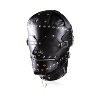 High Quality PU Leather Full Gimp Hooded Mask Locking Blindfold Zipper Open Mouth Heads Restraint Slave BDSM Bondage Sex Toys