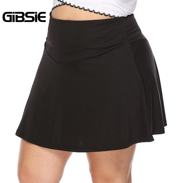 GIBSIE Plus Size Black Elegant Sexy Office Lady A Line Skirt Women 2019 Summer Casual High Waist Mini Skirts Female Big Size 1