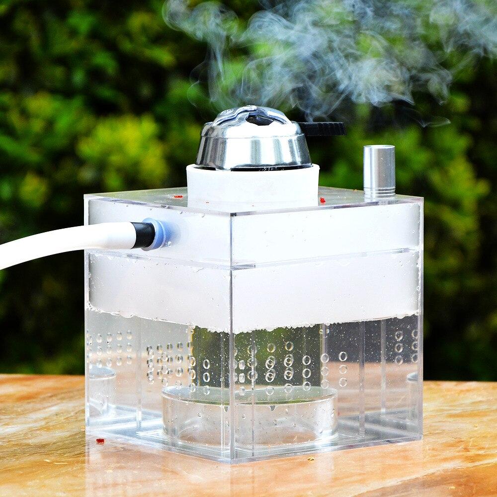 Narguilé acrylique Transparent narguilé narguilé narguilé Chicha fumer des conduites d'eau avec des accessoires de fête de Bar de Club de lumière LED