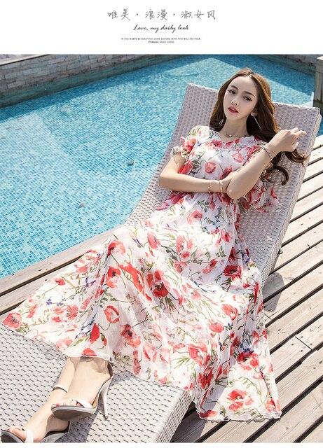 Summer women Floral Print long Chiffon Dress Elegant Vestidos flare sleeves cultivating Casual Bohemian beach dress XXXXL 18005 4
