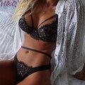 HQ 2017 Nova Mulheres Sexy Lace Oco Preto Conjuntos de Lingerie Mulheres Sling Perspectiva Sexy Exotic Vestuário Lingerie Define XHH04782